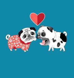 Love dogs pugs beautiful vector image