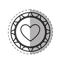casino poker chip heart thin line vector image