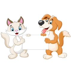 Cute cat and dog holding blank sign vector