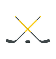 sticks and puck icon flat style vector image vector image