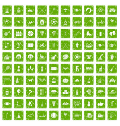 100 kids activity icons set grunge green vector image