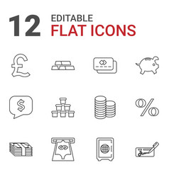 12 banking icons vector image
