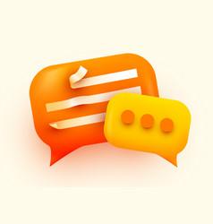 3d chat bubble talk dialogue messenger or vector image