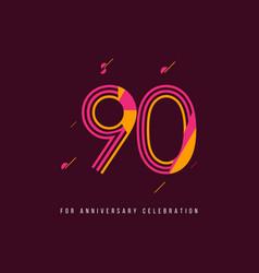 90 year retro anniversary celebration template vector