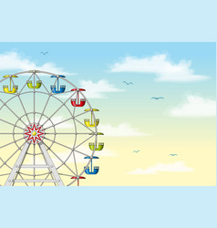 A ferris wheel in front of pastel sky vector