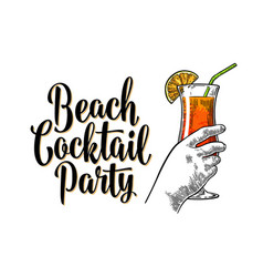 alcohol cocktail sex on beach vintage vector image