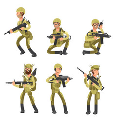Army cartoon man soldiers in uniform military vector