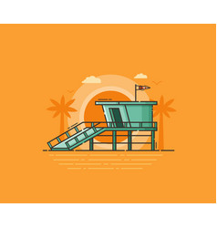 Beach life guard house vector