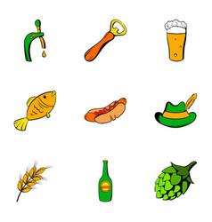 beer celebration icons set cartoon style vector image
