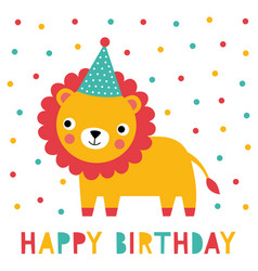Birthday greeting card with a cute lion vector