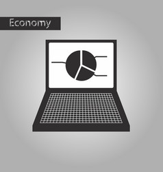 black and white style icon laptop chart vector image