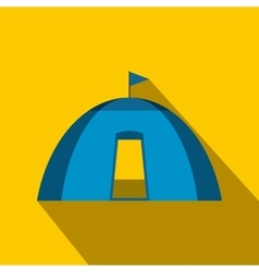 Blue dome tent flat icon vector image
