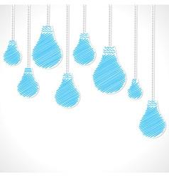 Blue sketch bulb background vector image