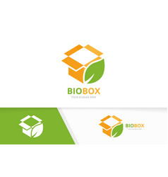 box and leaf logo combination package and vector image