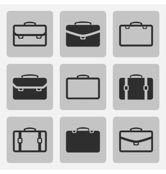 Briefcase black icons set vector