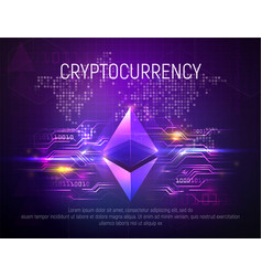 bright ethereal ethereum mining technology vector image