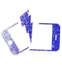 Broken smartphone textured icon vector