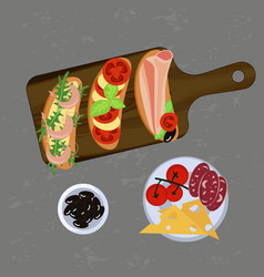 Bruschetta on the grey background vector