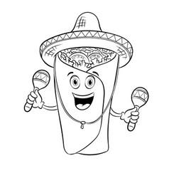 burrito and maraca coloring book vector image