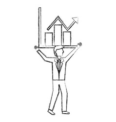 businessman holding chart business growth arrow vector image