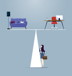 businesswoman balancing between work and life vector image