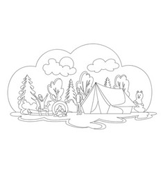 camping with summer forest cartoon vector image