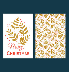 christmas cards with green leaves vector image