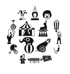 Circus entertainment icons set simple style vector