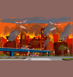 Concept of human disaster extinguish city fire vector