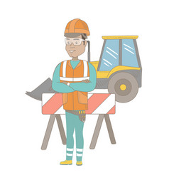 Confident hispanic builder with arms crossed vector