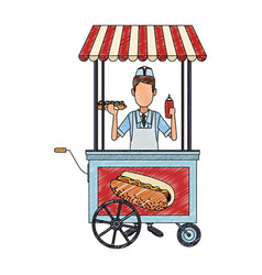 Cooker with hot dog stand scribble vector