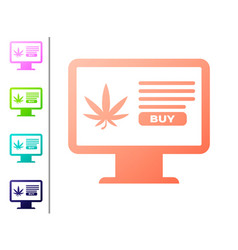 coral computer monitor and medical marijuana or vector image