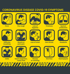 Coronavirus disease covid-19 symptoms infographic vector