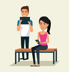 couple using smartphone icon vector image