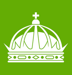crown icon green vector image
