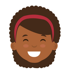 cute and little african girl head vector image