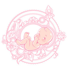 Cute little balying in round pattern vector