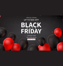 dark horizontal web banner for black friday sale vector image