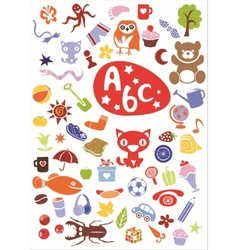 Different cute colorful elements vector