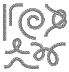 Different rope set with knot on white background vector