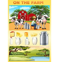Farm theme with farmer and dairy products vector