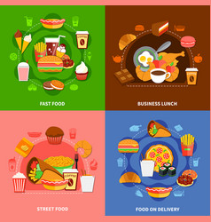 Fast food 4 flat icons square vector