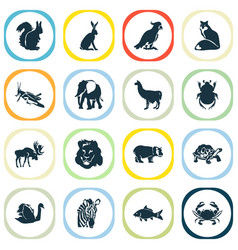 Fauna icons set with zebra squirrel hare and vector