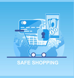 Flat banner safe shopping pay credit card vector