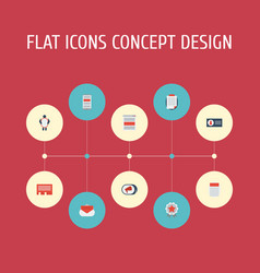 Flat icons id award journal and other vector