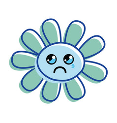 Flower crying cheeks and close eyes vector