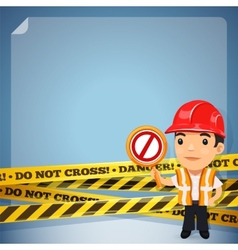 Foreman With Danger Tapes vector image