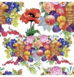 Fruits and flowers watercolor seamless pattern vector image