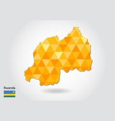 Geometric polygonal style map of rwanda low poly vector