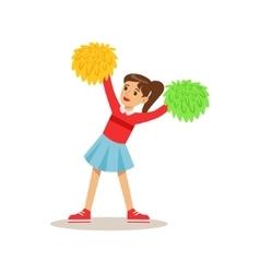 Girl cheerleader creative child practicing arts vector